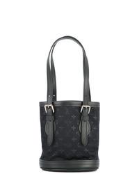 Mochila con cordón de cuero negra de Louis Vuitton Vintage