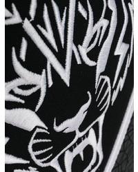 Mochila de cuero en negro y blanco