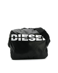 Mochila de cuero estampada en negro y blanco de Diesel