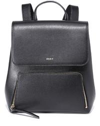 Mochila de cuero negra de DKNY