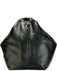 Mochila de cuero negra de MM6 MAISON MARGIELA