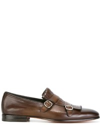Monks en cuir bruns Santoni