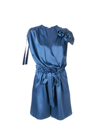 Mono corto de seda azul de Lanvin