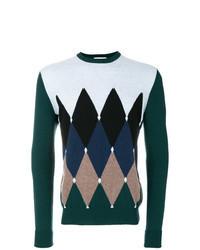 Multi colored Argyle Crew-neck Sweater