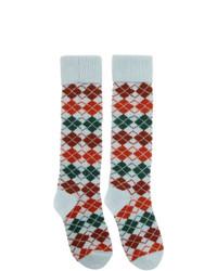 Gucci Multicolor Check Wool Socks