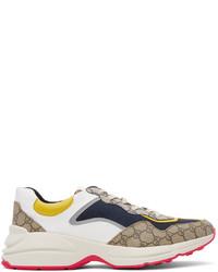 Gucci Beige Navy Gg Rhyton Sneakers