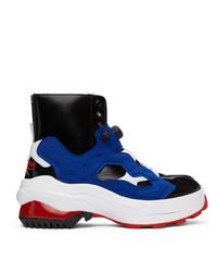 Maison Margiela Black And Blue Reebok Edition Tabi Instapump Fury Lo Sneakers