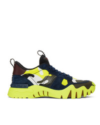 Valentino Black And Green Garavani Rockrunner Plus Sneakers