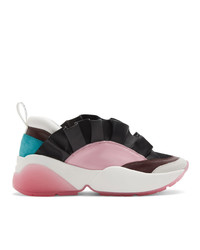 Emilio Pucci Black And Pink Ruffled Jungle Joy Sneakers