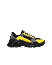 Balmain Black Yellow And Grey Jace Technical Sneakers