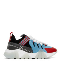 Versace Blue And Red Knit Squalo Sneakers