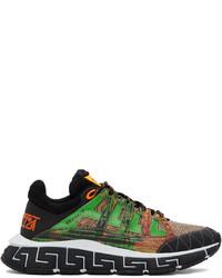 Versace Green Orange Trigreca Low Top Sneakers