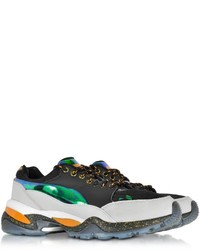 new arrival d7483 8b11d ... Mcq Alexander Mcqueen X Puma Multicolor Leather And Fabric Tech Runner  Sneaker