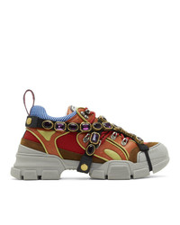 Gucci Multicolor Removable Crystals Flashtrek Sneakers