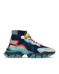 Moncler Navy Leave No Trace High Top Sneakers