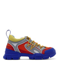 Gucci Orange And Blue Flashtrek Sneakers