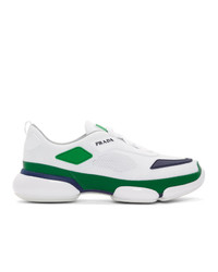 Prada White And Green Cloudbust Sneakers