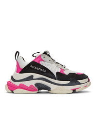 Balenciaga White And Pink Triple S Sneakers