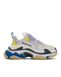 Balenciaga White And Purple Triple S Sneakers