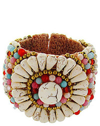 Panacea Howlite And Multi Colored Beaded Stone Cuff Bracelet