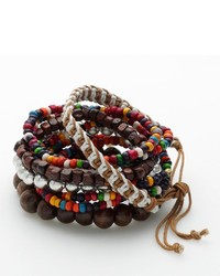 Wood bead woven cord stretch bracelet set medium 226995
