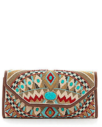 Mary Frances Beaded Southwest Print Convertible Clutch