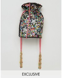 From st xavier from st xavier x how two live hand beaded drawstring multi colored cross body bag medium 4418623