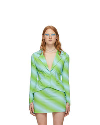 Maisie Wilen Blue And Green Ruched Shirt