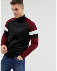 Pier One Track Top In Black With Burgundy S