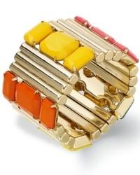 Bar III Gold Tone Multi Stone Stretch Bracelet