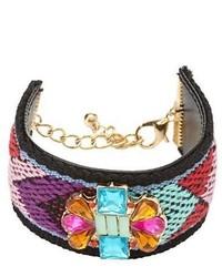 Charlotte Russe Jeweled Fabric Cuff Bracelet
