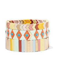 Roxanne Assoulin Gelato Set Of Three Enamel And Gold Tone Bracelets