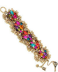 Betsey Johnson Gold Tone Multi Color Crystal Cluster Bracelet