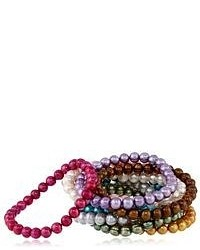 Honora Set Of 10 Multi Color Freshwater Cultured Pearl Stretch Bracelets 75