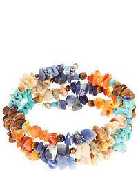 Lord & Taylor Multi Color Stone Coil Wrap Bracelet