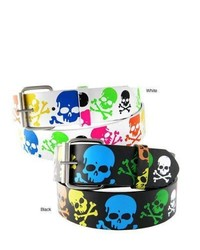Overstock Colored Skulls Faux Leather Belt