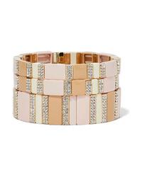 Roxanne Assoulin Pink Sand Set Of Three Enamel Gold Tone And Crystal Bracelets
