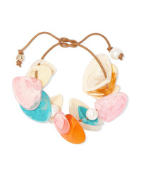 Dinosaur Designs Pipi Leather Resin And Faux Pearl Bracelet