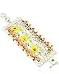 Betsey Johnson Summer Of Love Mixed Colored Bead Multi Row Toggle Bracelet