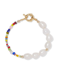 Eliou Thao Gold Plated Pearl And Bead Bracelet