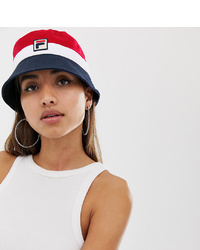 Fila Basil Logo Bucket Hat In Red Navy And White