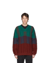 Y/Project Multicolor Braided Knit V Neck Sweater