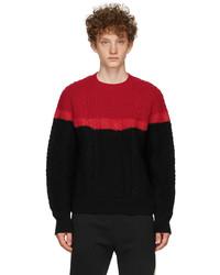 Alexander McQueen Red Black Aran Knit Bi Color Sweater