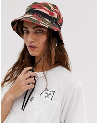 ASOS DESIGN Camo Fisherman Bucket Hat With Toggle Detail