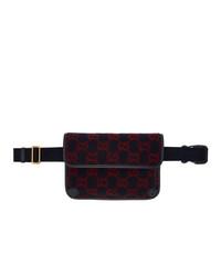 Gucci Navy Wool Gg Belt Bag