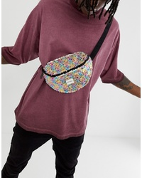 Spiral Platinum Bum Bag With Feathered Sequins