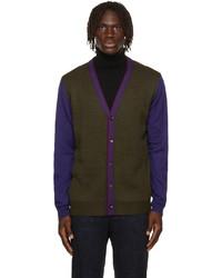 Etro Green Blue Wool Colorblock Cardigan