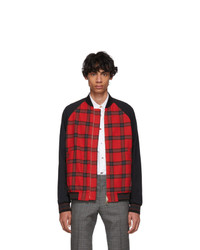 Paul Smith Red And Black Check Bomber Jacket
