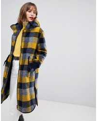 Esprit Hooded Coat In Yellow Check