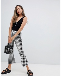 ASOS DESIGN Flare Cropped Leggings In Dogtooth Check